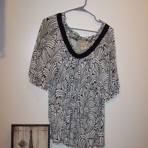MICHAEL KORS BLK WHITE TUNIC TOP XL NICE